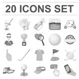 Golf and attributes monochrome icons in set collection for design.Golf Club and equipment vector symbol stock web Stock Image
