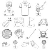 Golf and attributes outline icons in set collection for design.Golf Club and equipment vector symbol stock web Royalty Free Stock Photography