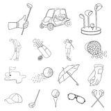 Golf and attributes outline icons in set collection for design.Golf Club and equipment vector symbol stock web. Golf and attributes outline icons in set Stock Photography
