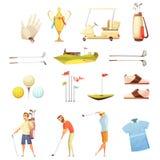 Golf Attributes Retro Cartoon Icons Set