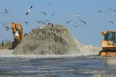 Golf av Mexico nära solnedgångstrandpåfyllning royaltyfria bilder
