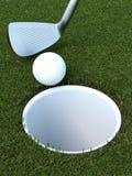 Golf avec une boule et un putter Images libres de droits