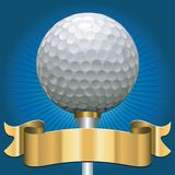 Golf award. Golf ball with award scroll banner in gold Royalty Free Stock Images