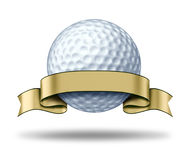 Golf Award with blank gold label. Showing a golfing tournament champion symbol represented by a white golf ball and golden ribbon as a concept of golfer sports Royalty Free Stock Photos