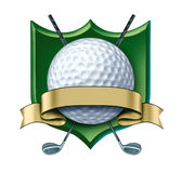 Golf Award crest with blank gold label. Golf Award with green crest and blank gold label showing a golfing tournament champion symbol represented by a white golf Stock Images