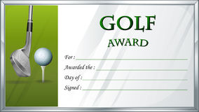 Golf award template with golf ball in background Royalty Free Stock Photo