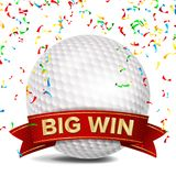 Golf Award Vector. Red Ribbon. Big Sport Game Win Banner Background. White Ball. Confetti Falling. Realistic Isolated.  Royalty Free Stock Photos