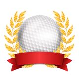 Golf Award Vector. Sport Banner Background. White Ball, Red Ribbon, Laurel Wreath. 3D Realistic Isolated Illustration. Golf Award Vector. Sport Banner Background Royalty Free Stock Photo
