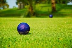 Golf azul del color en hierba verde Foto de archivo libre de regalías