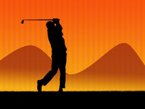 Golf background 2. Illustration. Golf player in action Royalty Free Stock Images
