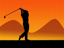 Golf background. Illustration. Golf player in action Royalty Free Stock Photos