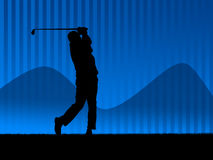 Golf background blue 2. Illustration. Golf player in action Stock Image