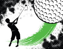 Golf Background With Boy Swinging Royalty Free Stock Image