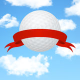 Golf background - 3d golf ball with a red ribbon Stock Photography