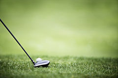 Golf background with driver and ball. Royalty Free Stock Photography