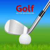 Golf background - golf club and ball on grass. Golf background - 3d realistic golf club and ball on grass. Vector EPS10 illustration Stock Photo