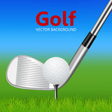 Golf background - golf club and ball on tee Royalty Free Stock Photos