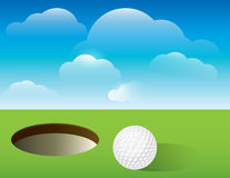 Golf Background Putting Green. A nice illustration for a golf tournament invitation, poster, golf flyer, and more. Golf ball next to cup on green Royalty Free Stock Images