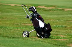 Golf bag. At a golf field Royalty Free Stock Photo