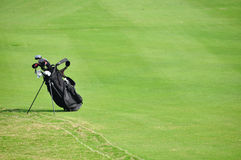 A golf bag. In the golf course Stock Image