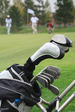 Golf bag. On playing fields with players on the back royalty free stock images
