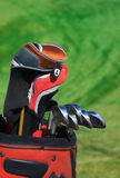 Golf bag. Over green background. Vertical composition stock image