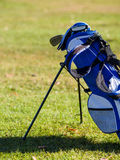 Golf bag. Propped up on fairway stock image