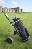 Golf bag. On green field royalty free stock image