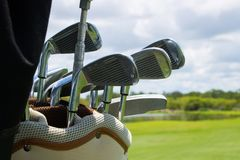 Golf Bag Full of Clubs stock images