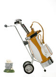 Golf Bag and bucket of balls Stock Photo