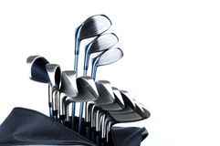 Golf Bag and Clubs. A golf bag and golf clubs shot isolated on white background stock photography