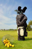 Golf bag with clubs and balls. At the golf course Stock Photos