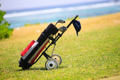 Golf bag on coastal field Royalty Free Stock Photo