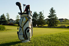 Golf bag on the course. By the edge of the green stock images