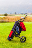 Golf bag on the course Stock Image