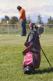 Golf bag. On the field Royalty Free Stock Images