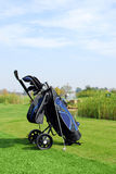 Golf bag and golf club Royalty Free Stock Photo