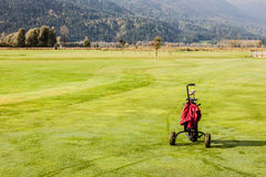 Golf bag in the golf course Royalty Free Stock Images