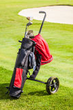 Golf bag on the grass Stock Image