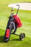 Golf bag on the grass Stock Image