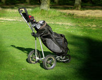Golf Bag on Portable Golf Cart Royalty Free Stock Photo