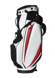 Golf bag. In red, white and black isolated on white stock photo