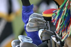 Golf bag and set of clubs Royalty Free Stock Image