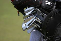 Golf bag and set of clubs Stock Photography