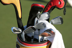 Golf bag and the set of clubs Royalty Free Stock Photography