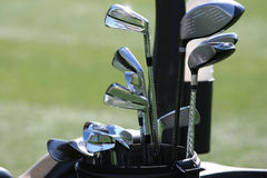 Golf bag and the set of clubs Stock Photography