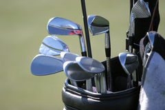 Golf bag and the set of clubs Stock Photos