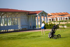 Golf bag. woman playing Royalty Free Stock Photography