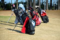 Golf bags. Golf sports bags with clubs on course Royalty Free Stock Photos
