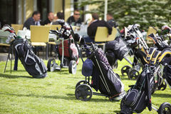 Golf bags parking stock images